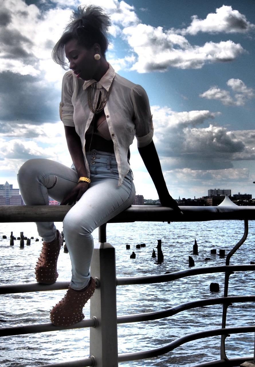 New York Woman on railing