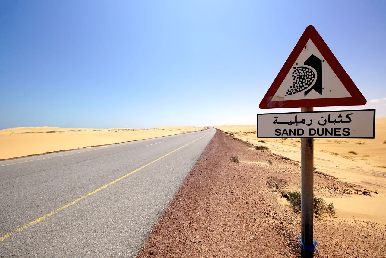 Oman-road-sand dunes