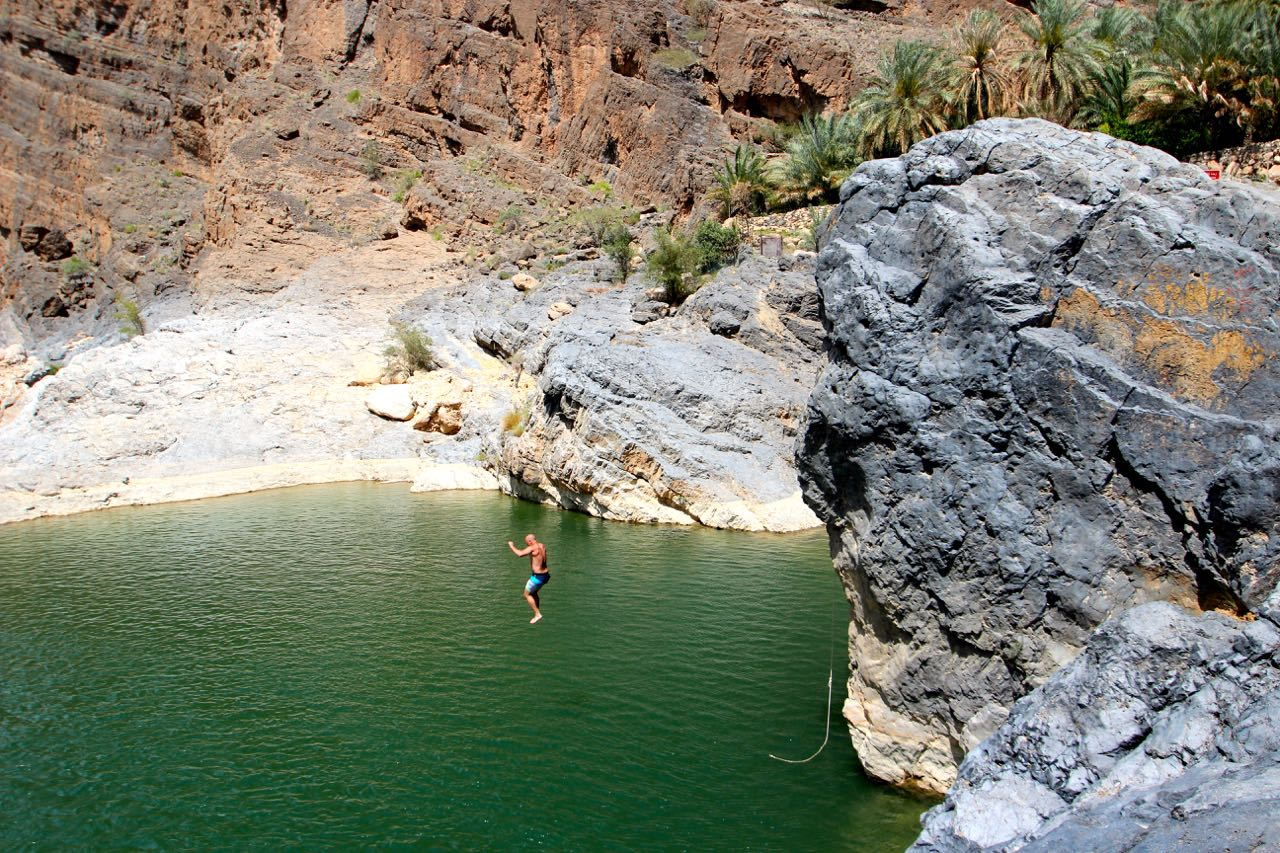 cliff diving in oman
