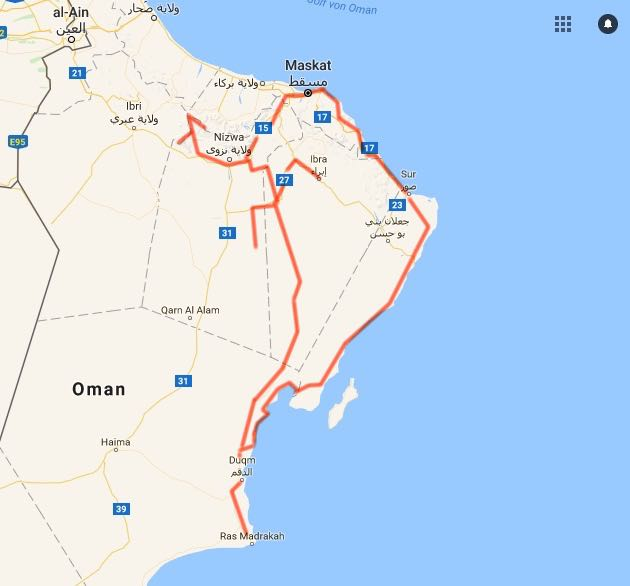 oman off-road tour map